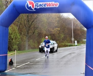 a man almost finishing a race