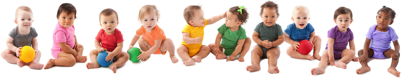 babies in colorful clothing